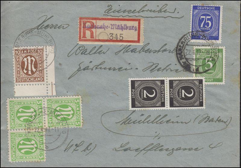 AM-Post + Gemeinschaft R-Bf. R-Not-Zettel KARLSRUHE-MÜHLBURG 22.4.47 n. Mühlheim