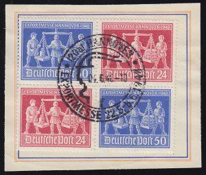 969-970 Hannover Messe ZD VZd1 auf Messekarten-Abschnitt SSt Hannover 4.6.1948