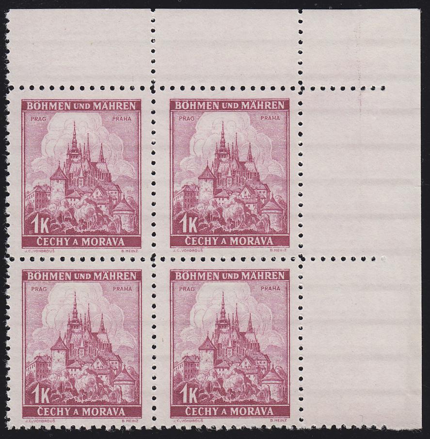 Böhmen und Mähren 28 Prag 1 K. Eckrand-Viererblock oben rechts **