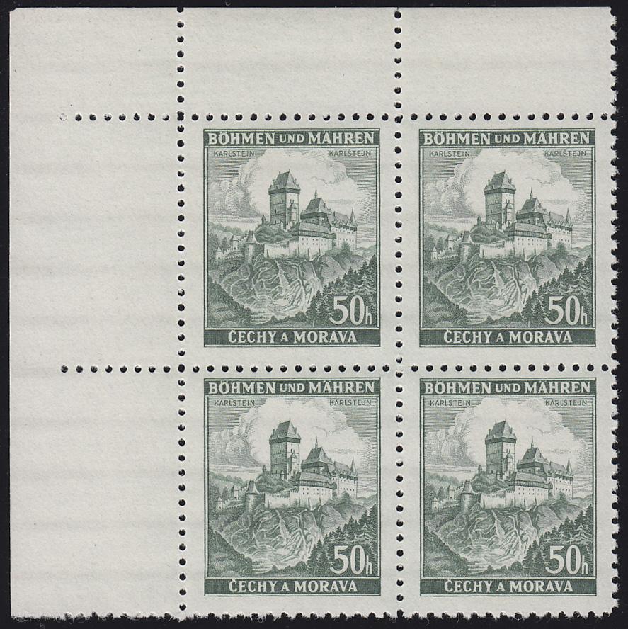 Böhmen und Mähren 26 Burg Karlstein 50 H. Eckrand-Viererblock oben links **