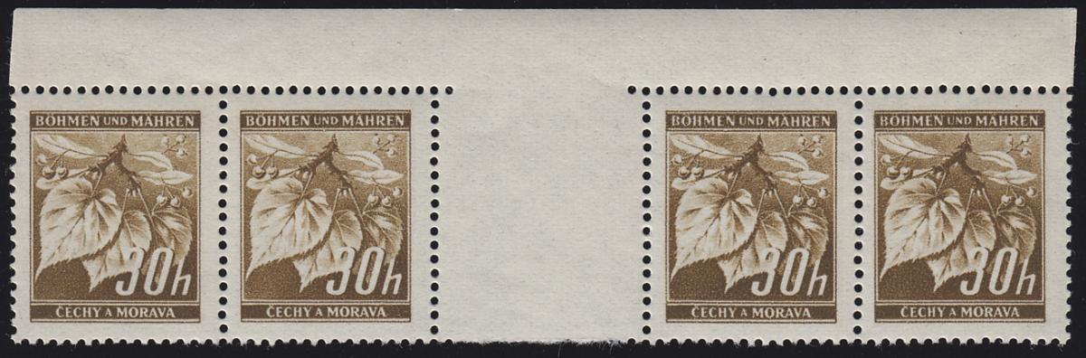 Böhmen und Mähren 64 Lindenzweig 30 H. braun Zwischenstegpaar mit Rand oben  **