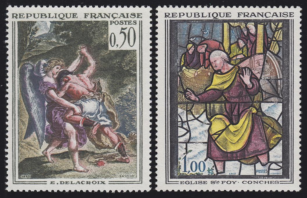Frankreich 1426-1427 Kunst: Wandbild und Kirchenfenster, 2 Werte, Satz **