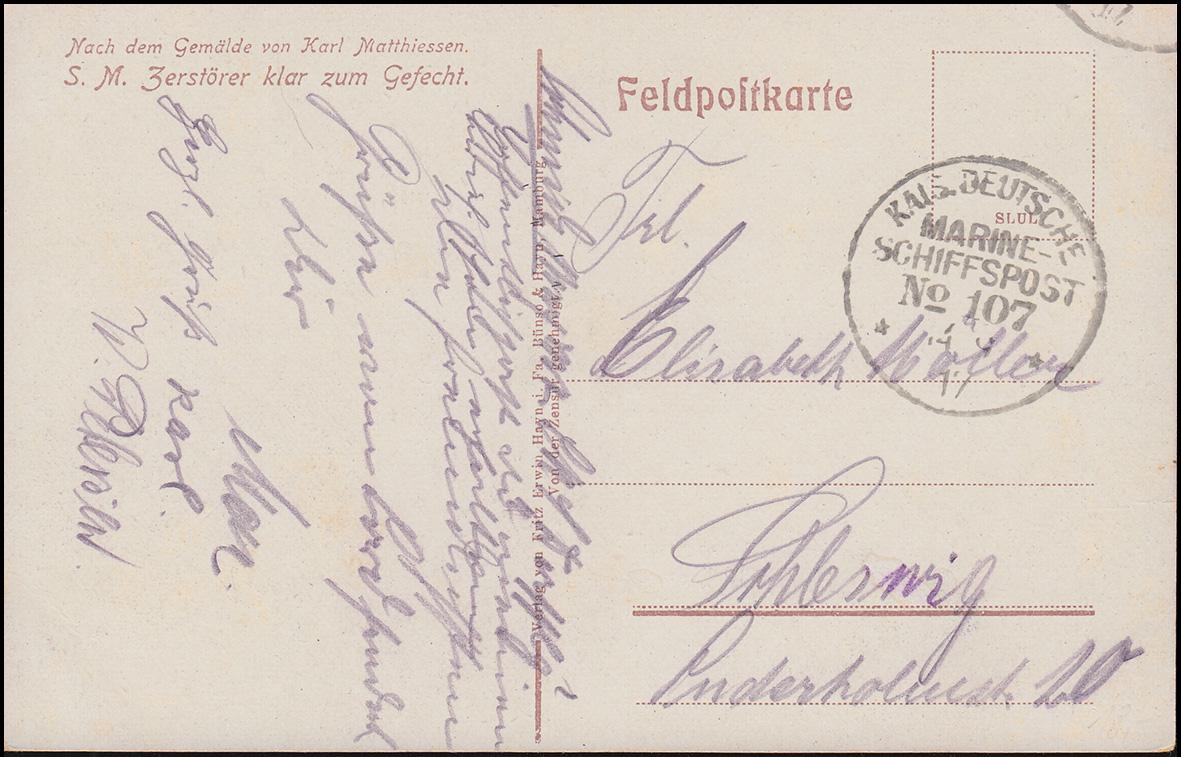 DEUTSCHE MARINE-SCHIFFSPOST No 107 - 1917 SMS Derfflinger auf Feldpostkarte