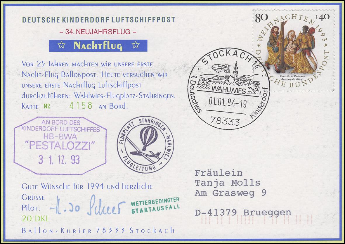 Luftschiffspost DKL 20 PESTALOZZI Neujahrsflug / Nachtflug STOCKACH 1.1.1994