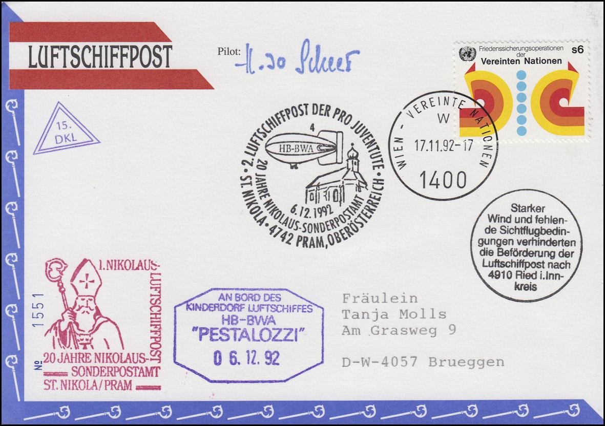 Luftschiffspost DKL 15 PESTALOZZI Pro Juventute und St. Nikolaus WIEN 17.11.1992