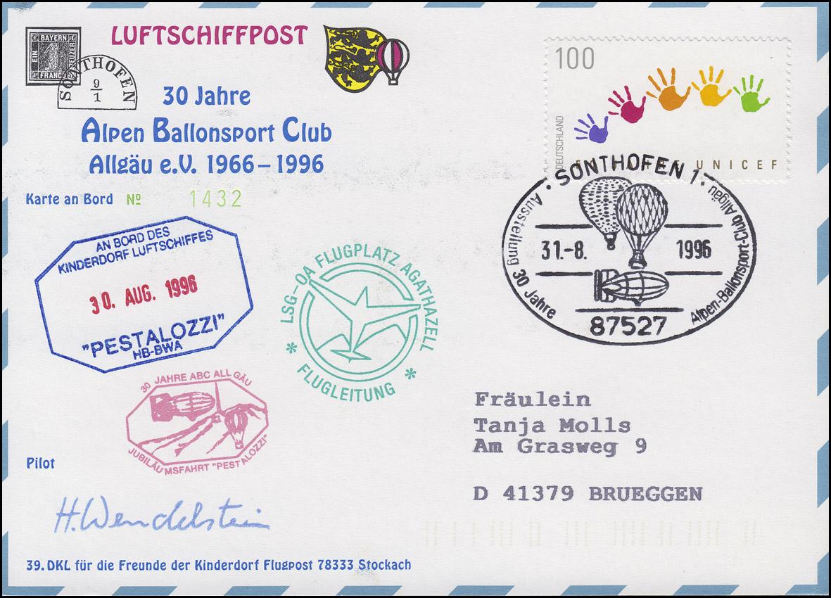 Luftschiffspost DKL 39 PESTALOZZI Alpen Ballonsport Club Algäu SONTHOFEN 31.8.96