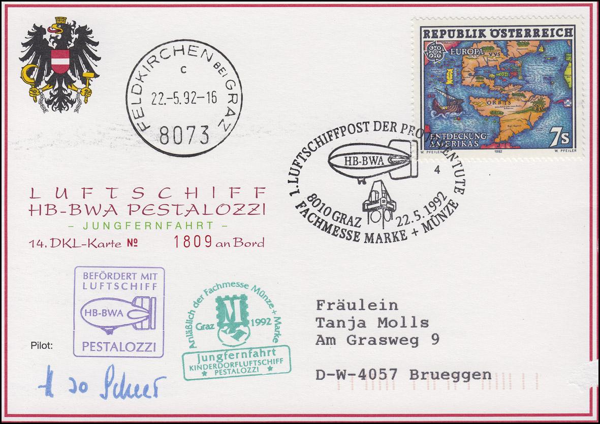 Luftschiffspost DKL 14 PESTALOZZI Pro Juventute GRAZ Messe Marke+Münze 22.5.1992