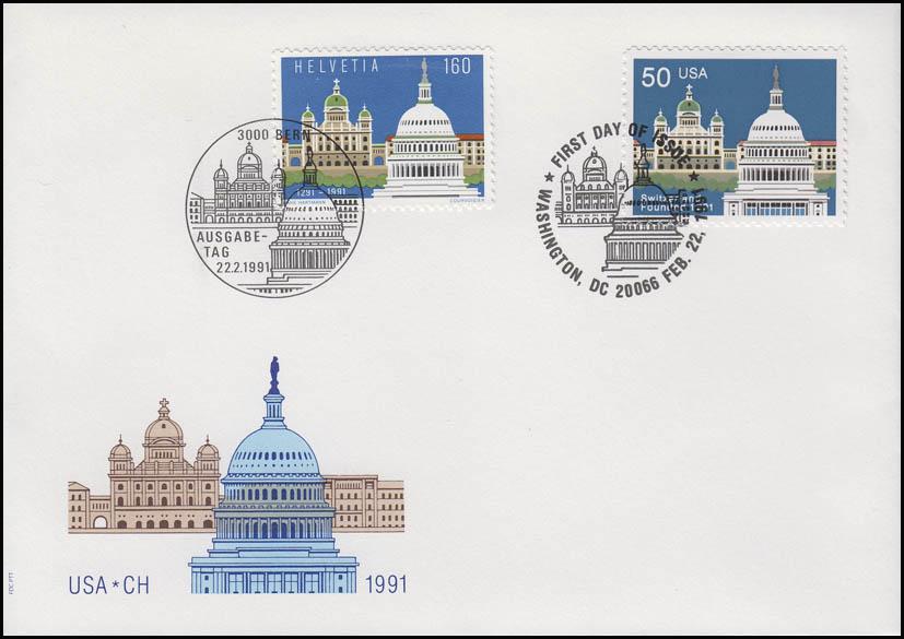 Schweiz Verbindung USA-Schweiz beide Ausgaben R-FDC I ESSt Bern/Washington 1991