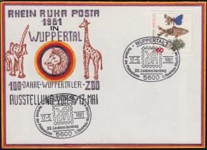 RHEIN RUHR POSTA Wuppertaler Zoo selbstgemalter Brief SSt WUPPERTAL vdph 17.5.81