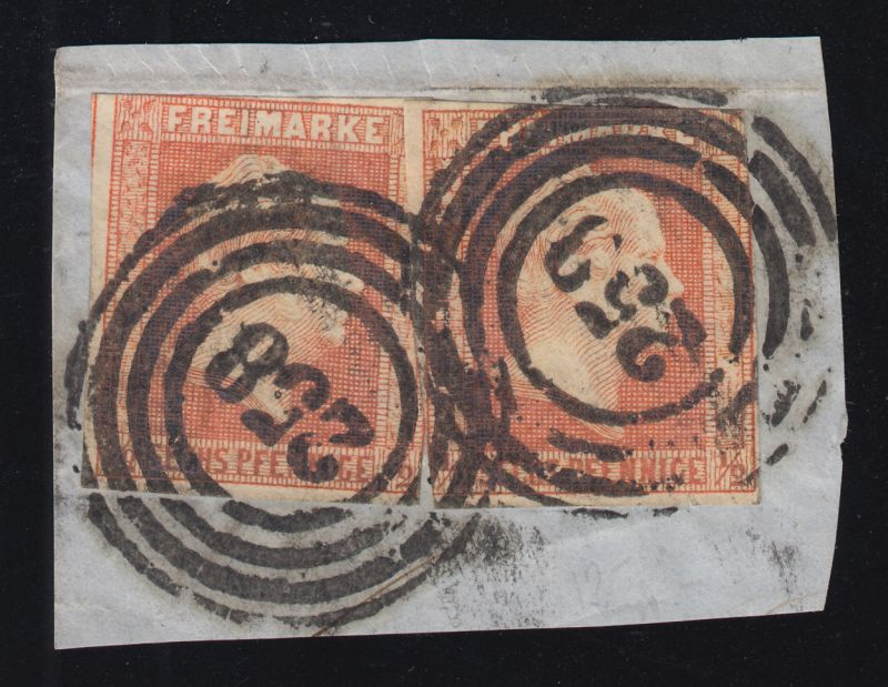 Preußen 1 Freimarke, zweimal auf Briefstück Vierring-O 258, geprüft Brettl BPP