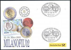 Ausstellungsbeleg Nummer 67 MILANOFIL Mailand 2002 - OHNE Marken, aber mit 2 SSt