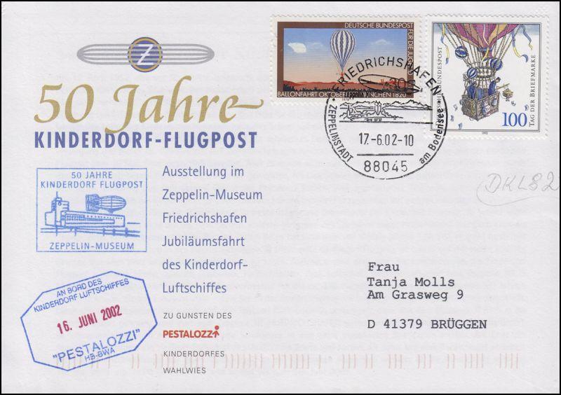 Luftschiffspost DKL 82 PESTALOZZI Kinderdorf-Flugpost FRIEDRICHSHAFEN 17.6.02