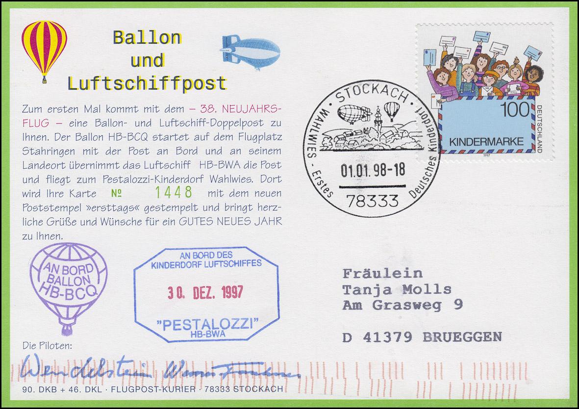 Luftschiffspost DKL 46 HB-BCQ und PESTALOZZI 38. Neujahrsflug STOCKACH 1.1.1998