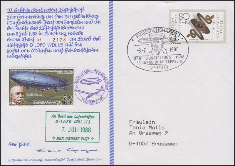 Luftschiffspost DKL 10 D-LDFO München-Fahrt Graf Zeppelin FRIEDRICHSHAFEN 8.7.88