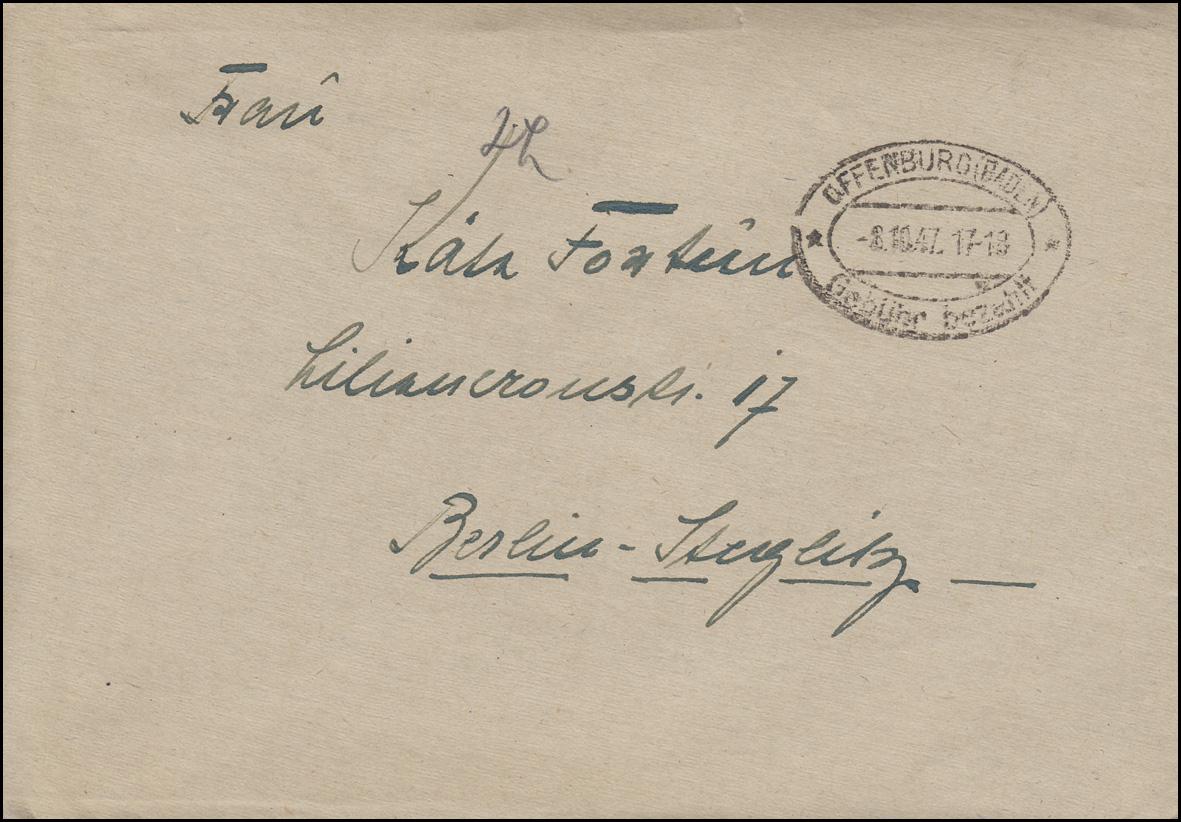 Gebühr-bezahlt-Stempel OFFENBURG (BADEN) 8.10.1947, Brief nach Berlin-Steglitz