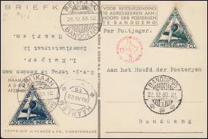 Postkarte PANDER POSTJAGER als Flugpost PELIKAAN BANDOENG 26.12.1933 n. Haarlem