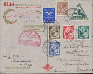KLM-Luftpost NL-Suriname-Curacao Snip 15.12.34 S'GRAVENHAGE 13.12. n. PARAMARIBO