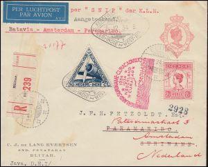 KLM-Luftpost NL-Indien-Suriname Snip 15.12.34, R-Bf. BLITAR 3.12. nach Amsterdam