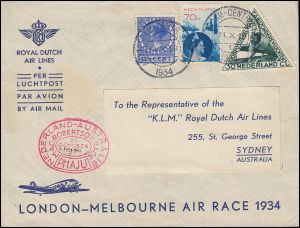 KLM-Flugpost NL-Australien by LONDON-MELBOURNE AIR RACE Brief Amsterdam 11.10.34