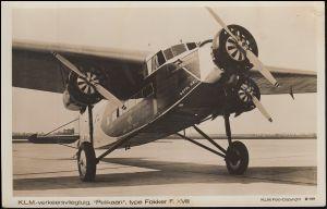 Ansichtskarte KLM-Verkehrsflugzeug PELIKAAN Type FOKKER F-XVIII, ungebraucht