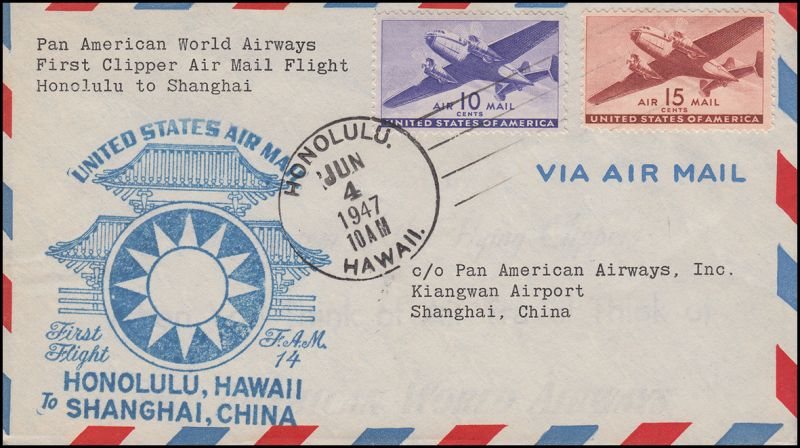 Erstflug Honolulu - Shanghai/China per PAN American World A. FAM 14 - 4.6.1947