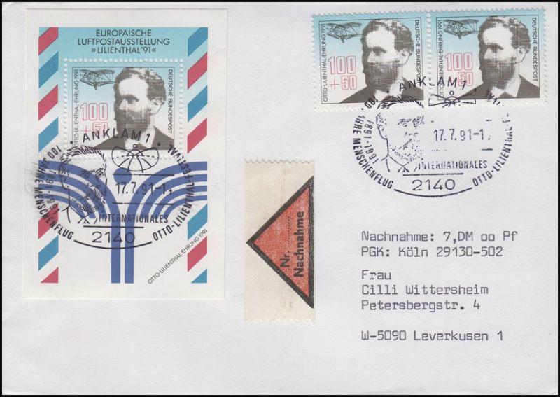 Block 24 Luftpost und 2 Ezm aus Bl.24 NN-Brief SSt Anklam Menschenflug 12.7.91