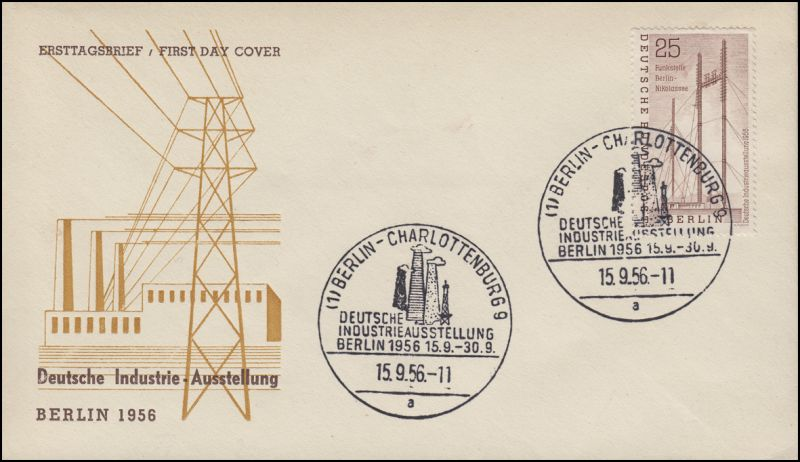157 Industrie-Ausstellung 1956 - auf Schmuck-FDC ESSt Berlin 15.9.1956
