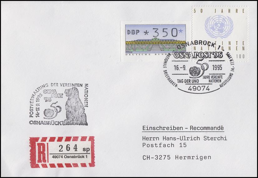 1804 UNO + SchWZD-ATM MiF R-Bf SSt Osnabrück Tag der UNO 16.9.95 OSNAPOST