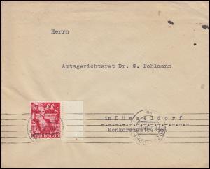 661 Machtergreifung 12 Pf mit Seitenrand auf Orts-Brief DÜSSELDORF 11.2.38
