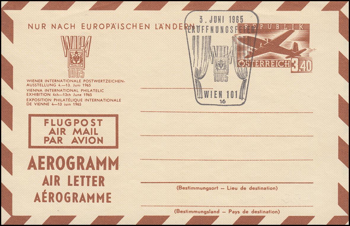 Österreich Luftpostfaltbrief LP 9 Sonderausgabe WIPA 1965 passener SSt 3.6.65
