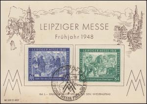 967-968 Leipziger Messe - Satz auf Messe-Karte Frühjahr 1948 ESSt LEIPZIG 2.3.48