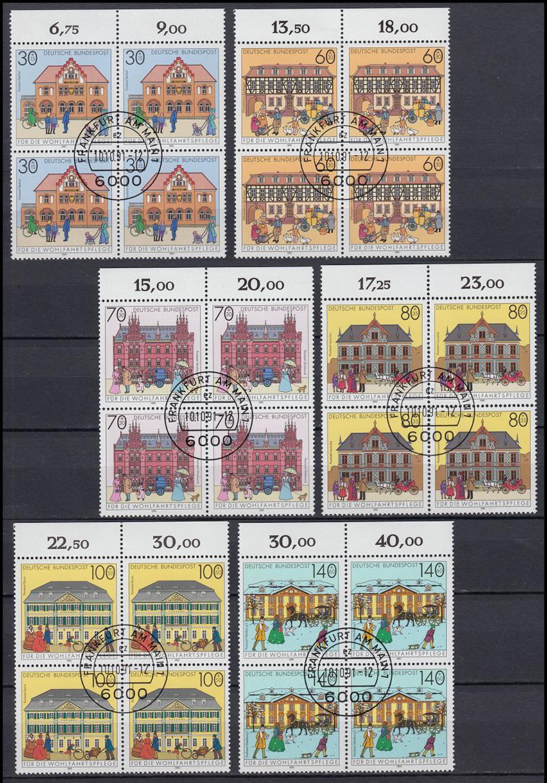 1563-1568 Posthäuser Oberrand-Viererblock-Satz mit VS-Ersttagsstempel Frankfurt