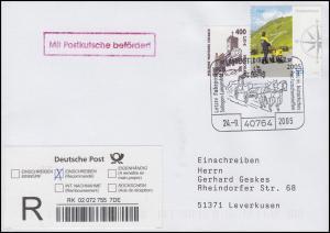 Postkutschenpost: R-Brief SSt Langenfeld/Rheinland Postkutsche 24.9.2005