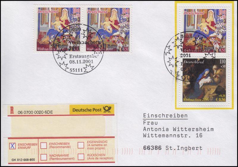 2226-2227 Weihnachten-Zusammendruck aus Bl.56I, MiF R-FDC ESSt Bonn 8.11.2001