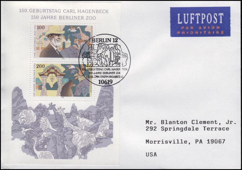 Block 28 Carl Hagenbeck & Berliner Zoo, EF FDC ESSt Berlin 5.5.1994 in die USA