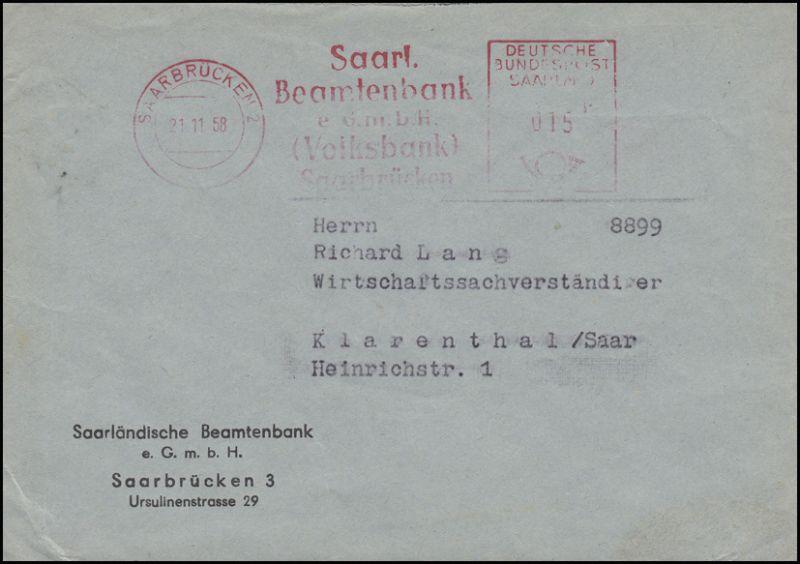 Absenderfreistempel Beamtenbank Volksbank SAARBRÜCKEN 21.11.58 auf Brief
