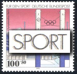 1652DD Sporthilfe Olympiastadion Berlin 100 Pf: leichter Doppeldruck schwarz, **
