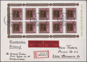 1065 Kleinbogen FIP-Kongreß 1980 EF auf Orts-Eil-R-Brief SSt HANNOVER 30.11.80