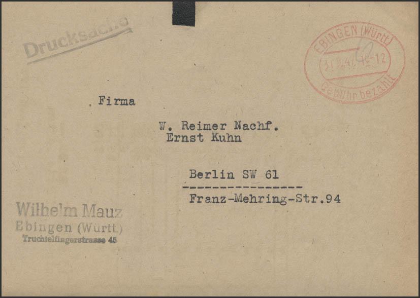 Gebühr-Bezahlt-Stempel Drucksache Ebingen/Württemberg 31.10.47 nach Berlin