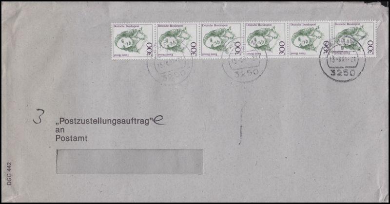 1433 Frauen 6x 300 Pf als 6er-Streifen MeF Postzustellungsauftrag HAMELN 15.8.91