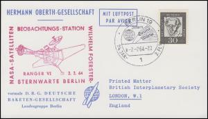 Hermann-Oberth-Gesellschaft 354y Kant, Lochung DRG auf PK SSt BERLIN 2.2.64