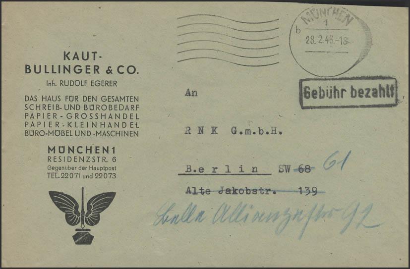 Gebühr-Bezahlt-Stempel Brief aptierter Stempel München 28.2.46 nach Berlin