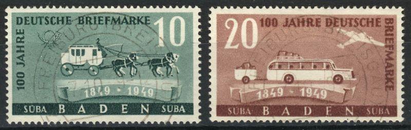 54-55 100 Jahre dt. Briefmarken, Satz gestempelt 7.10.49