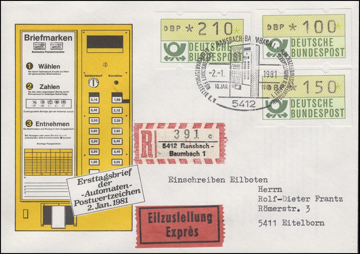 1.1 ATM 100+150+210 Pf auf Eil-R-Schmuck-FDC ESSt Ransbach-Baumbach 2.1.81
