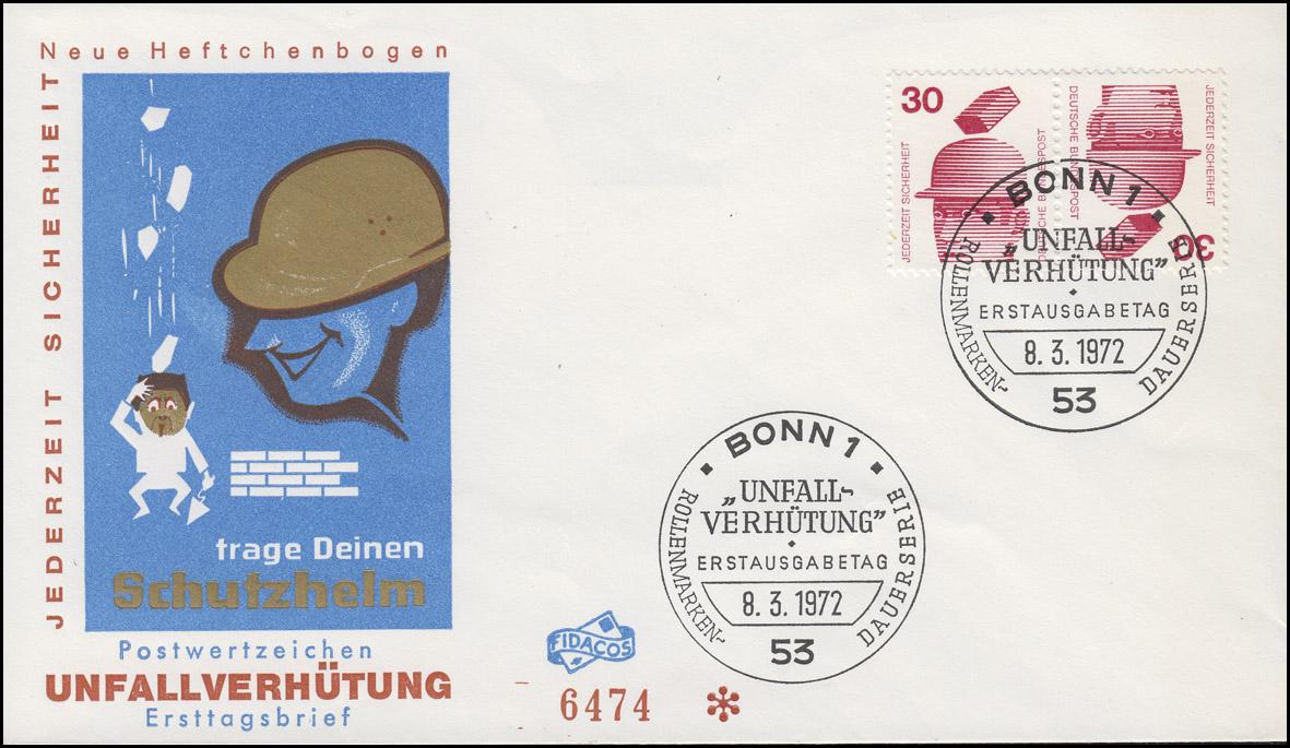 Unfallverhütung-ZD K 11 aus MHB 16 auf FIDACOS-Schmuck-FDC ESSt BONN 8.3.1972