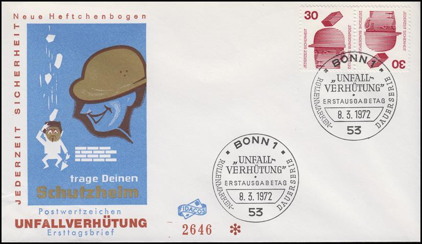 Unfallverhütung-Zusammendruck K 11 aus MHB 16 Schmuck-FDC ESSt BONN 8.3.1972