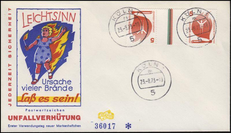 Unfallverhütung-Zusammendruck KZ 10 aus MHB 19 Schmuck-FDC ET-O Köln 23.9.73