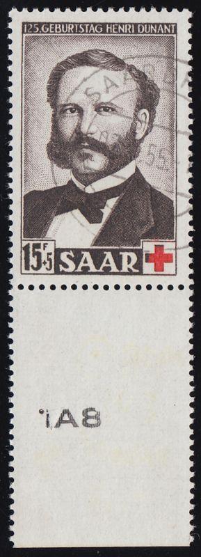 343 Dunant/Rotes Kreuz Unterrand mit Randzudruck SAARBRÜCKEN 7.4.55 tiefst gepr.