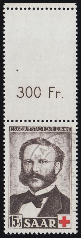 343L Dunant/Rotes Kreuz mit Oberrand SAARBRÜCKEN 7.4.55 tiefst geprüft Ney BPP