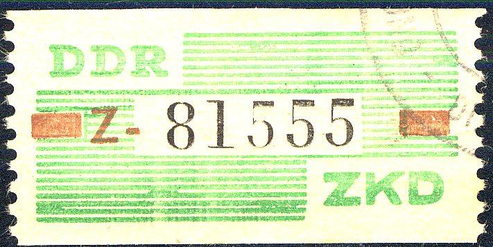 VII Dienst-B, Billet Buchstabe Z, grün/braun/schwarz, UNGÜLTIG-Stempel